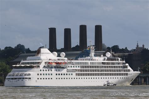 thames river cruise merlin pass cruise ships silver wind and silver cloud pass each other