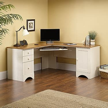 white sauder desk corner computer desk antiqued white with american cherry