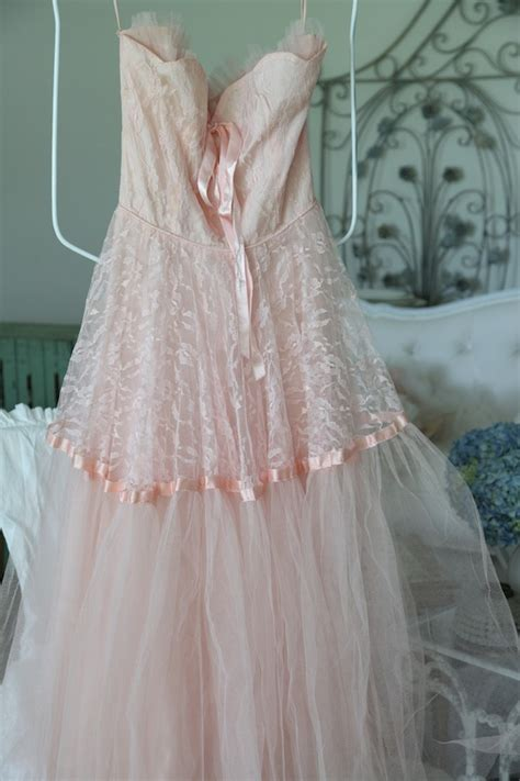 shabby chic cocktail dress vintage pink prom dress tulle shabby chic prom