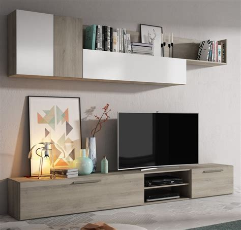 mueble de salon toronto roble  blanco brillo conforama