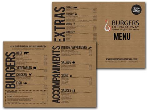 design menu burger burgers off broadway menu design menu pinterest