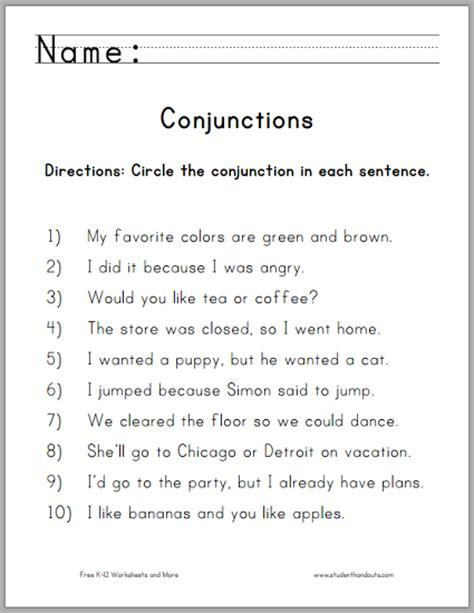 Conjunction Worksheets click here to print pdf for more of our free worksheets