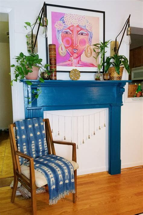 bohemian fireplace mantle   fireplace blue
