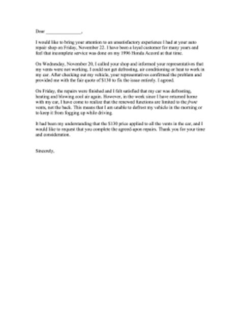 Complaint Letter Template To Garage Complaint Letter Car Repair