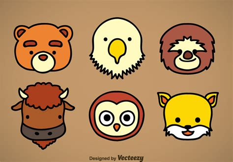 cute animal head icons vector sets   vector art stock graphics images