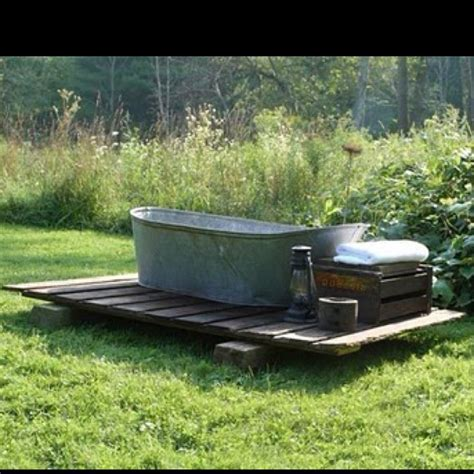 wood heated outdoor tub outdoor spaces pinterest