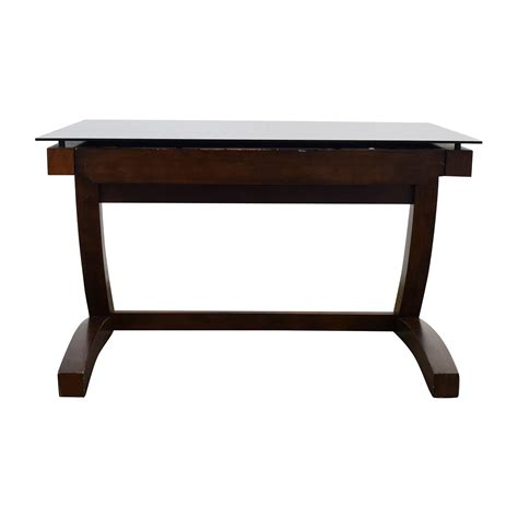 Wood And Glass Desk by 56 Raymour And Flanigan Raymour Flanigan Wood And Black Glass Desk Tables