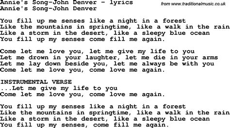 Printable Lyrics Annie S Song John Denver | love song lyrics for annie s song john denver