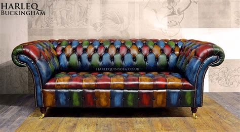 Patchwork Chesterfield Harlequin Leather Sofa And Chairs Patchwork Chesterfield Sofa