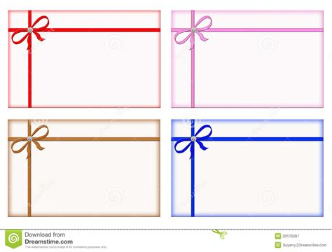 Gift Card Note - gift cards with colored ribbons note card set stock image image 29170287