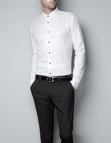 Zaraman Cotton Shirt zara hounds tooth checked shirt in white for lyst