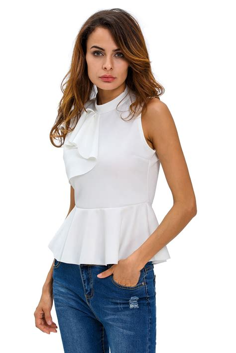 27507 White One Sided Casual Top asymmetric ruffle side peplum top casual t