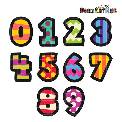 numbers clipart cartoony numbers clip set daily hub