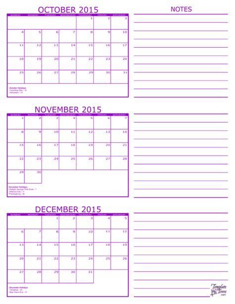 Calendar 2015 October November December 3 Month Calendar 2015