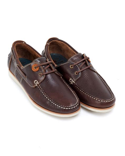 barbour lifestyle brown leather flinders deck shoes