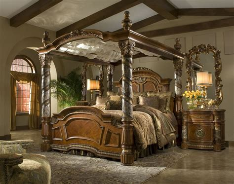 king canopy bedroom set villa valencia king poster canopy bed from aico 72000can coleman furniture