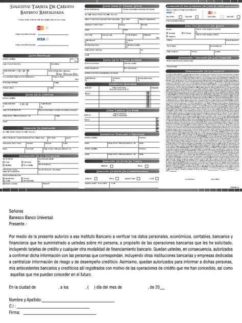 carta de autorizacion compartir informacion banesco solicitud tarjeta respaldada