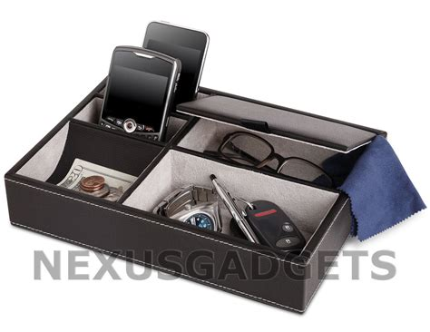 mens leather valet tray desk tidy men s 5 compartment valet jewelry box mens dresser wallet