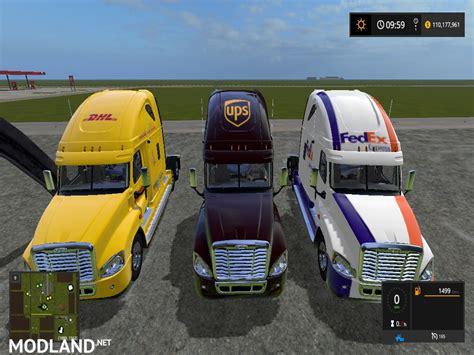 fs freightliner cascadia dhl ups fedex semi mod farming simulator