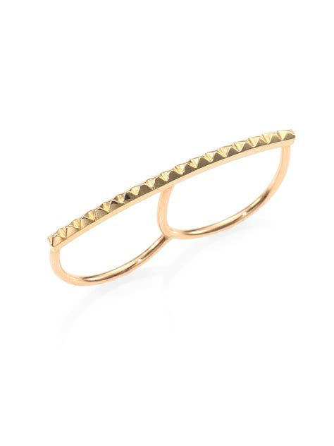 zoe chicco 14k yellow gold pyramid bar two finger ring in