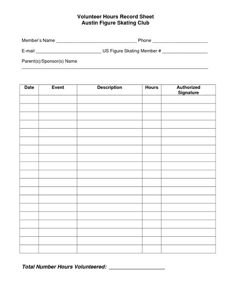 volunteer chart template volunteer hours log sheet template beta club