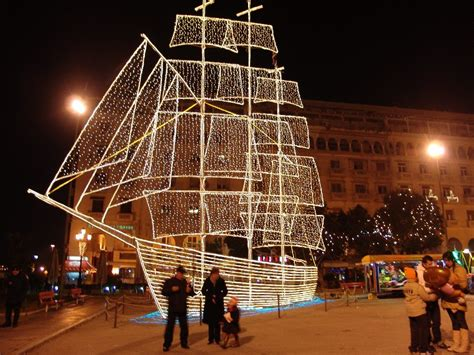 christamas decorations in greece decoration on aristotelous square photo from ladadika in thessaloniki greece