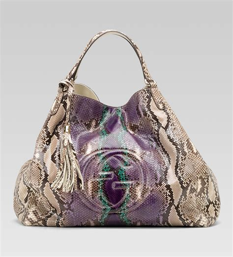 Python Purse by Gucci Soho Large Shoulder Bag In Grape Multi Color