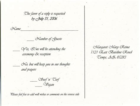 wedding invite response card wording wedding response card with meal selection exles of