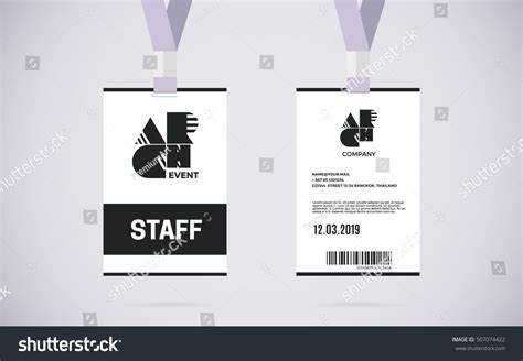 event id card template event staff id card set lanyard stock vector 507074422