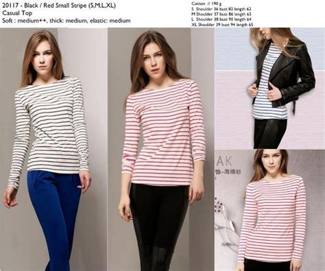 Baju Atasan Wanita Import Kemeja Graphic Stripe Shirt A30872 jual kaos cewek stripe hitam merah import murah katun