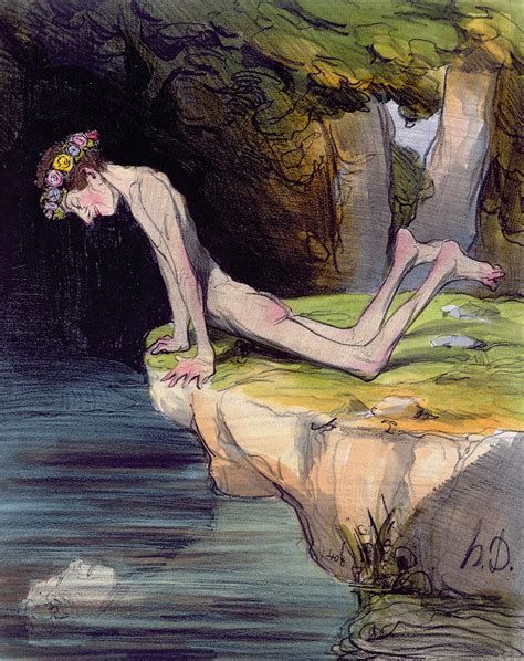 Narcissus Painting the beautiful narcissus painting by honore daumier