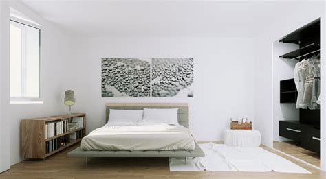 monochrome bedroom scandinavian apartment natural wood and monochrome