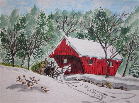 Barn Like House Plans red covered bridge christmas painting by kathy marrs chandler