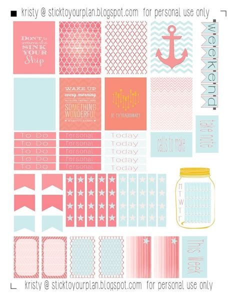 erin condren life planner free printable stickers stick to your plan free printable for personal use only
