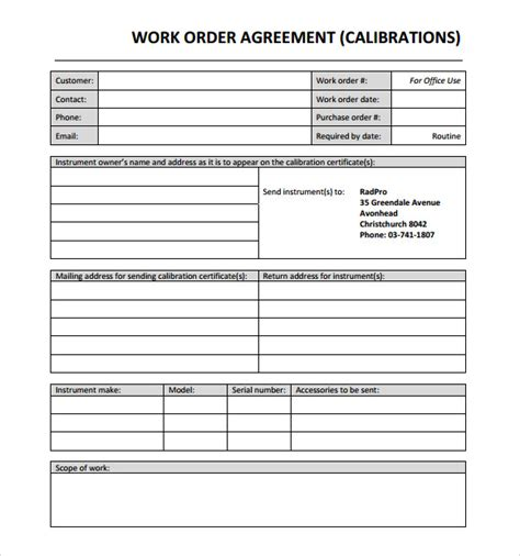 work order form template excel sle work order 11 documents in word excel pdf