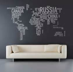 Word Stickers For Walls Geo Typographies World Map Wall Stickers Made Of Words
