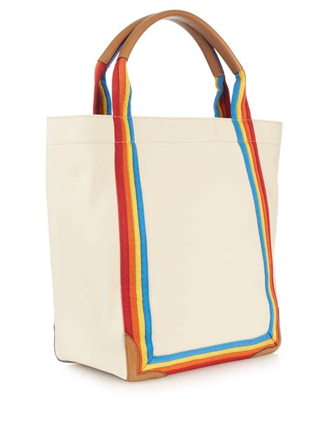 Tote Sneaker Smile lyst anya hindmarch smiley canvas tote with leather