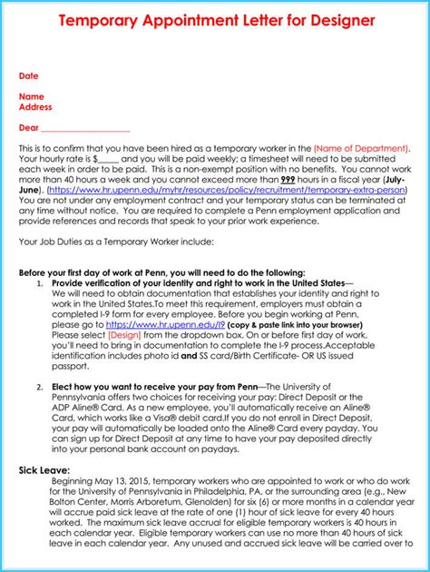 temporary appointment letter sample letters