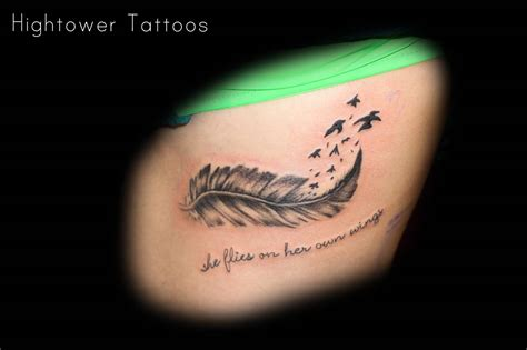 she flies with her own wings tattoo 39 beautiful feather hip tattoos