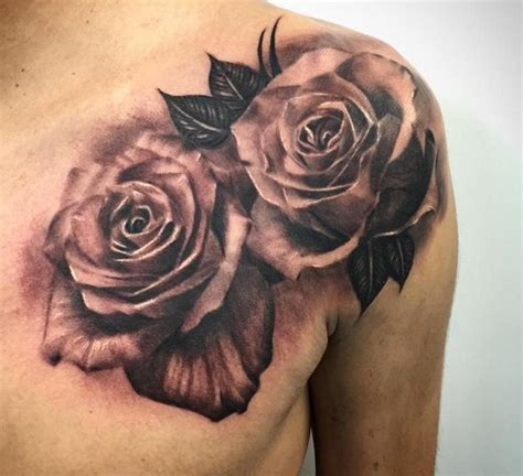 rose tattoos on front shoulder 4 lovely grey tattoos ideas