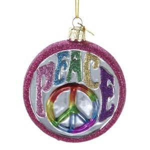 hippie peace sign glass christmas tree ornament holiday