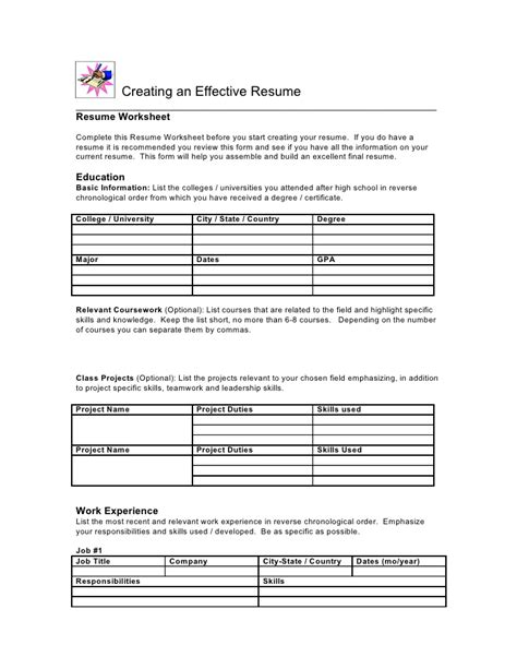 Resume Spreadsheet by Resume Worksheet