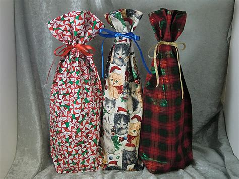 christmas collection  fabric wine bottle gift bags