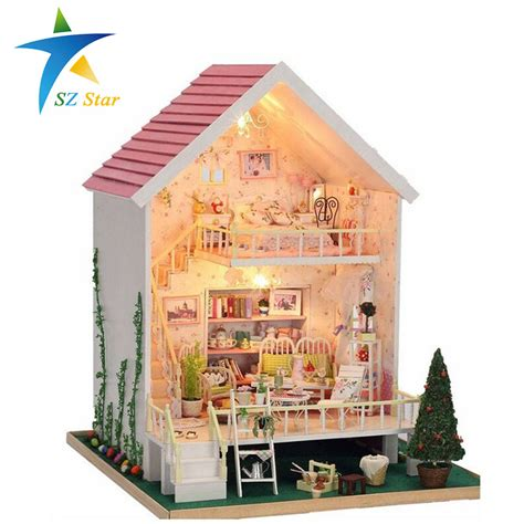 dolls house for children manual pink wood small doll house kids toy dollhouses with light 28 29 40cm children