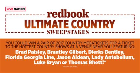 Redbook Giveaways - redbook ultimate country sweepstakes win 2017 country megatickets