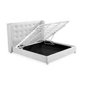 deco in lit coffre 140 cm blanc avec rangement