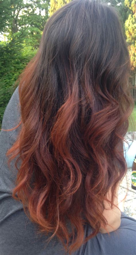 dyed hairstyles for brown hair my new copper ombre dip dye hair hair pinterest