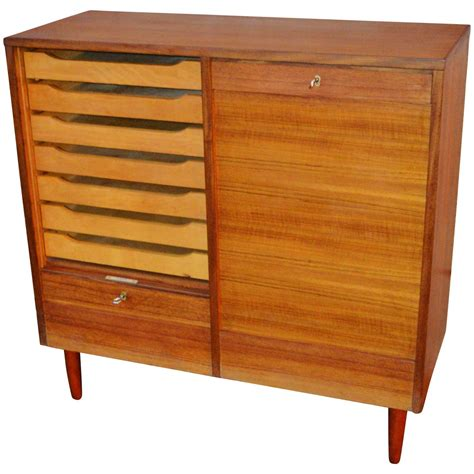 teak tambour door flat file storage cabinet at 1stdibs