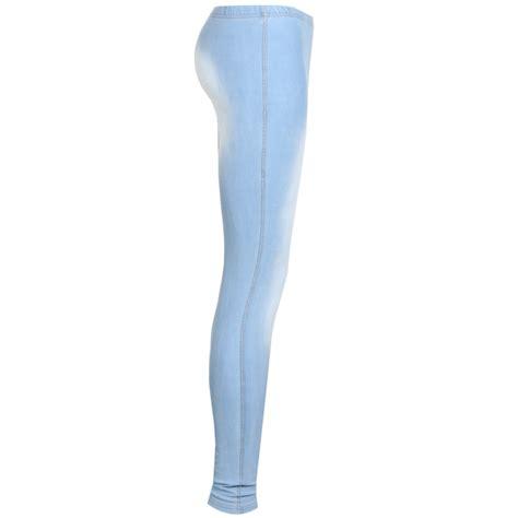 light blue leggings women new womens light blue ankle length faded jeggings denim