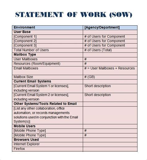 template for statement of work 8 statement of work templates word excel pdf formats